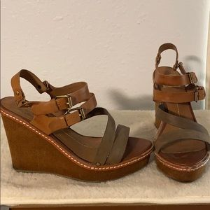 Dolce Vita Cloth and Leather Double Strap Wedges